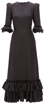 The Vampire's Wife The Pussybow Ruffled Silk-twill Dress - Womens - Black