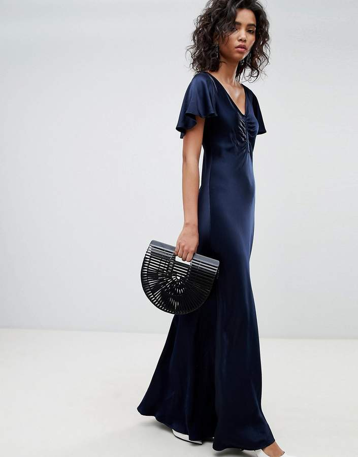 Ghost Fluted Capped Sleeve Satin Maxi Dress With Ruched Detail