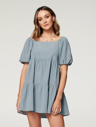 Forever New Sandra Petite Square-Neck Smock Dress - Powder Sky - 10