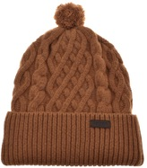 Barbour Cable Knit Beanie Hat Brown