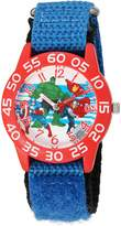 Marvel Boy's 'Captain America' Quartz Plastic and Nylon Automatic Watch, Color: (Model: W003235)