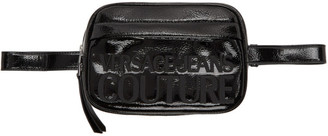 Versace Black Patent Logo Belt Bag