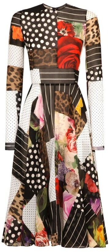 Thumbnail for your product : Dolce & Gabbana Patchwork Charmeuse Midi Dress