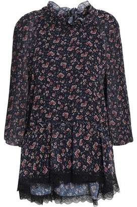 See by Chloe Lace-trimmed Floral-print Georgette Blouse