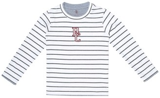 BRUNELLO CUCINELLI KIDS Logo striped cotton-jersey T-shirt