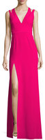 Halston Sleeveless Deep V-Neck Crepe Gown