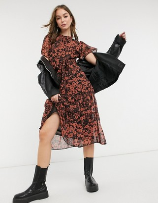 New Look shirred neck midi dress in black pattern