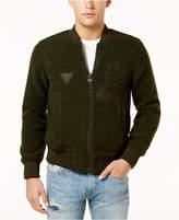 GUESS Men's Debossed Zip-Front Jacket