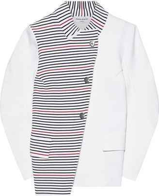 Sonia Rykiel Asymmetric Paneled Striped Ponte Jacket