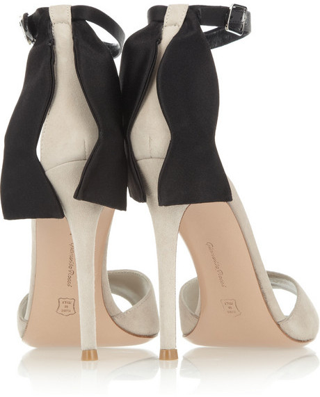 Gianvito Rossi Satin-embellished suede sandals