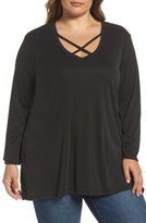 Sejour Plus Size Women's Cross Front Bell Sleeve Top