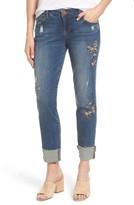 Wit & Wisdom Petite Women's Flex-Ellent Embroidered Boyfriend Jeans