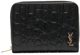 Saint Laurent tiny Monogram crocodile-effect compact wallet