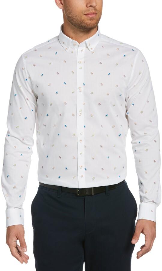 Original Penguin Mens Slim Fit Spread Collar Fashion Dress Shirt
