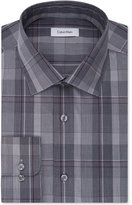 Calvin Klein Men's STEEL Big & Tall Classic/Regular Fit Non-Iron Performance Blue Check Dress Shirt