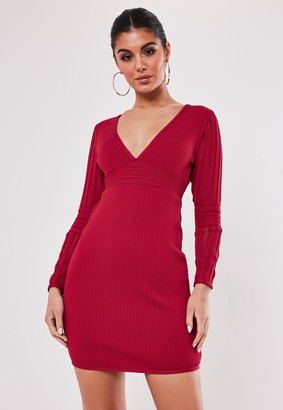 Missguided Premium Red Bandage Long Sleeve V Neck Mini Dress