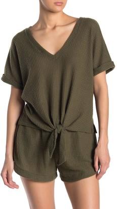 Socialite V-Neck Front Tie Waffle Knit Pajama Top