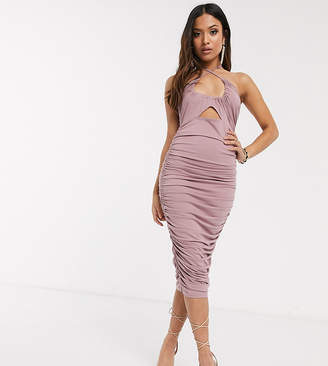 Asos DESIGN Petite going out ruched midi dress with cut out in pink