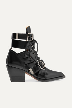 Chloé Rylee Cutout Glossed-leather Ankle Boots - Black