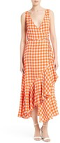 Diane von Furstenberg Women's Check Ruffle Hem Wrap Dress