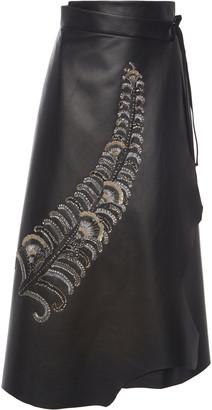 Prada Sequined Tie-Waist Leather Wrap Skirt