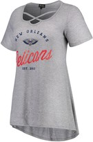 Unbranded Women's Heathered Gray New Orleans Pelicans Criss Cross Front Tri-Blend T-Shirt