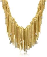 Orlando Orlandini Flirt - Diamond Drops 18K Yellow Gold Thread Necklace