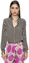 Etro Boy Fit Stripe Silk Crepe De Chine Shirt