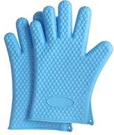 HaloVa Oven Mitts, Heat Insulation Silicone Oven Gloves, Long Scald Proof Cooking Gloves for Baking, Barbeque, Grilling, Kitchen, Blue