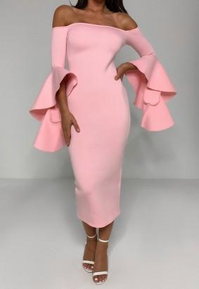 Missguided Pink Scuba Bardot Ruffle Midi Dress