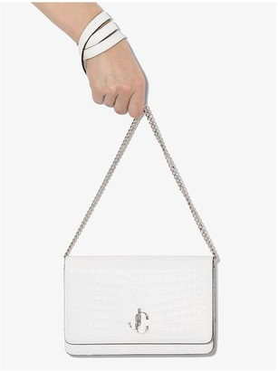 Jimmy Choo White Palace Leather Cross Body Bag