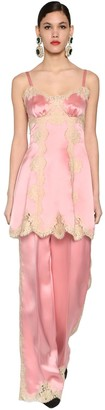 Dolce & Gabbana Silk Satin & Lace Mini Dress