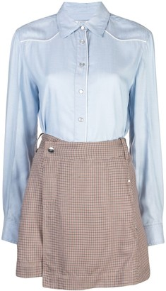 Derek Lam 10 Crosby Long Sleeve Mixed Media Shirt Dress with Twil Wrap Skirt