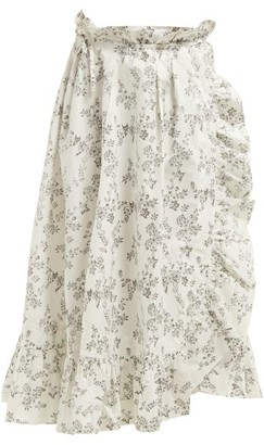Thierry Colson Tasha Floral-print Cotton Wrap Skirt - Black Multi