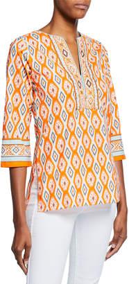 Bella Tu Quinn Ikat-Print V-Neck 3/4-Sleeve Tunic