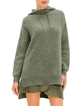 Ganni Soft Wool Knit Sweatshirt With Hoodie
