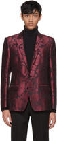 Dolce & Gabbana Red Jacquard Tuxedo Blazer