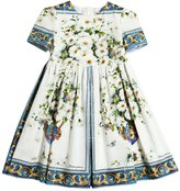 Dolce & Gabbana Maiolica Print Cotton Poplin Dress