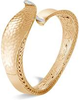 John Hardy 18K Yellow Gold Classic Chain Pavé Diamond Hammered Wave Medium Bypass Kick Cuff