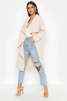 Boohoo Francesca Belted Waterfall Coat stone
