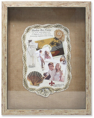 Lawrence Frames 11x14 Weathered Natural Front Hinged Shadow Box Frame, Burlap Display