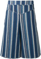 Chloé striped culottes - women - Cotton/Linen/Flax - 34