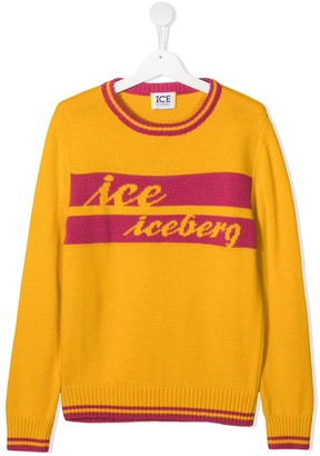 Iceberg Kids TEEN logo-embroidered fine knit jumper