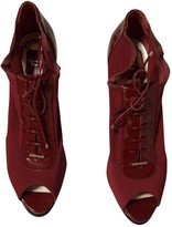 Christian Dior Burgundy Cloth Ankle boots
