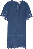 Sea Guipure Lace-Paneled Embroidered Linen Mini Dress