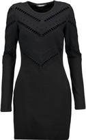 Roberto Cavalli Open knit-trimmed stretch wool-blend mini dress
