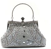 TopTie Bead Handbag Evening Bag with Cute Stud, Hidden Handle