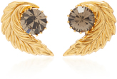Nicole Romano 18K Gold-Plated Leaf Crystal Stud Earrings