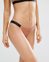 Asos Textured Contrast Elastic Tanga Bikini Bottom