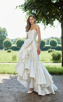 Rasario Bridal Ruffled Bow Silk Gown